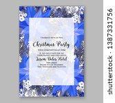 navy blue poinsettia merry... | Shutterstock .eps vector #1387331756