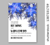 navy blue poinsettia merry... | Shutterstock .eps vector #1387331759