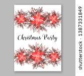 pink poinsettia merry christmas ... | Shutterstock .eps vector #1387331849