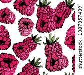 raspberries seamless pattern....   Shutterstock .eps vector #1387357439