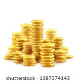 gold coins cash money in piles  ... | Shutterstock .eps vector #1387374143