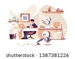 robots working in office vector ... | Shutterstock .eps vector #1387381226