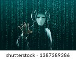 computer hacker in mask and... | Shutterstock . vector #1387389386