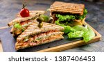 Food banner toast sandwich with smoked beef, cheese, tomatoes and lettuce. Traditional breakfast or lunch