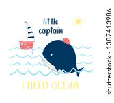 hand drawing whale and ship ... | Shutterstock .eps vector #1387413986