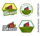 Set Of Farm Raised Labels And...