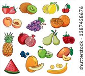 set of colorful cartoon fruit... | Shutterstock .eps vector #1387438676