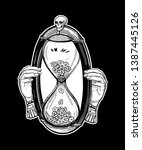 decorative antique hourglass... | Shutterstock .eps vector #1387445126