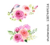 set of decors with flowers... | Shutterstock .eps vector #1387449116