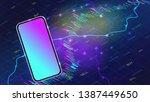 realistic smartphone mockup...   Shutterstock .eps vector #1387449650