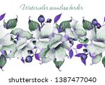 watercolor seamless floral... | Shutterstock . vector #1387477040