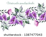 watercolor seamless floral... | Shutterstock . vector #1387477043
