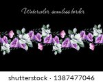 watercolor seamless floral... | Shutterstock . vector #1387477046