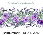 watercolor seamless floral... | Shutterstock . vector #1387477049