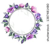 watercolor floral frames with... | Shutterstock . vector #1387481480