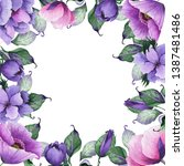 watercolor floral frames with... | Shutterstock . vector #1387481486