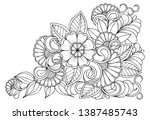 floral picture in black and... | Shutterstock .eps vector #1387485743