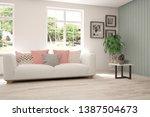 stylish room in white color... | Shutterstock . vector #1387504673