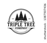 triple tree logo design. pine... | Shutterstock .eps vector #1387507436