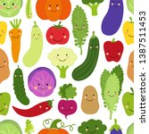 cute eat veggies seamless...   Shutterstock .eps vector #1387511453