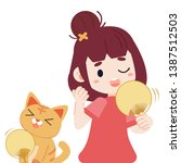 a girl and cute cat feel hot.... | Shutterstock .eps vector #1387512503