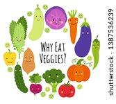 cute eat veggies frame... | Shutterstock .eps vector #1387536239