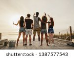 rear view of young friends... | Shutterstock . vector #1387577543
