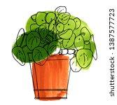 pilea peperomioides. watercolor ...   Shutterstock .eps vector #1387577723