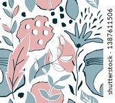 vector floral tropical seamless ...   Shutterstock .eps vector #1387611506