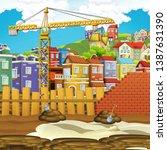 cartoon scene of construction... | Shutterstock . vector #1387631390