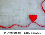 red heart and ribbon isolated... | Shutterstock . vector #1387636220