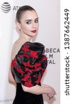 """Small photo of New York, NY, USA - May 2, 2019: Lilly Collins attends """"Extremely Wicked, Shockingly Evil And Vile"""" during 2019 Tribeca Film Festival at The Stella Artois Theatre, Manhattan"""