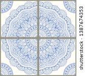 majolica pottery tile  blue and ... | Shutterstock .eps vector #1387674353