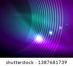 neon circles abstract... | Shutterstock .eps vector #1387681739