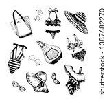 hand drawn vector set of summer ...   Shutterstock .eps vector #1387682270
