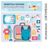 essential packing for traveling ... | Shutterstock .eps vector #1387698263