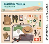 essential packing for desert... | Shutterstock .eps vector #1387698266