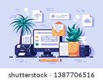 ways to getting information... | Shutterstock .eps vector #1387706516