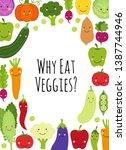 cute eat veggies frame...   Shutterstock . vector #1387744946