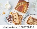 banana bread. sliced cake with...   Shutterstock . vector #1387758416