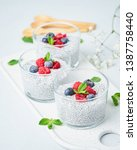 chia pudding with fresh berries ...   Shutterstock . vector #1387758440