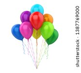 colorful balloons isolated. 3d... | Shutterstock . vector #1387769000