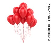 red balloons isolated. 3d... | Shutterstock . vector #1387769063