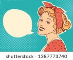 young retro woman portrait with ...   Shutterstock .eps vector #1387773740