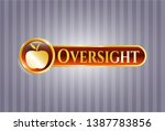golden emblem with apple icon... | Shutterstock .eps vector #1387783856