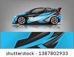 rally car wrap vector designs.... | Shutterstock .eps vector #1387802933