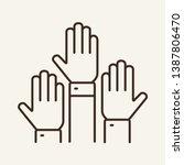 vote line icon. raised or... | Shutterstock .eps vector #1387806470