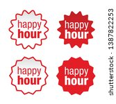 happy hour sign label red | Shutterstock .eps vector #1387822253