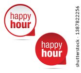 happy hour sign label red | Shutterstock .eps vector #1387822256