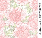 seamless pattern with peony... | Shutterstock .eps vector #1387837709